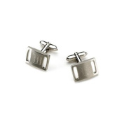 Personalised Marlon Brushed Silver Slotted Cufflinks