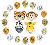 Safari Jungle Zoo Animals Jumbo Balloons Zibra, Tiger, Giraffe & Monkey