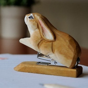 Idyllic Village Hand-Carved Solid Lime Wood Rabbit Stapler