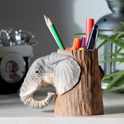 Idyllic Village Hand-Carved Solid Wood Elephant Pen Holder