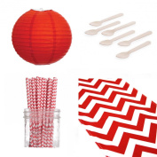 Dress My Cupcake Chevron Table Runner with Lanterns Dessert Table Party Kit and Red Chevron Straws