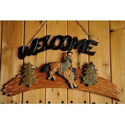 Idyllic Village Hand-Carved Solid Wood Cowboy Welcome Board