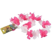 Bulk Buys Pink and White Silken Flowered Lei - Case of 144