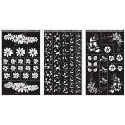 Armour Products Rub 'n' Etch Glass Etching Stencils 13cm x 20cm 3/Pkg Floral Designs 12-7024