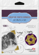 3L Scrapbook Adhesives Self-Adhesive Creative Paper Photo Corners, Gold, 108-Pack