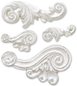 Melissa Frances 4-Pack Resin Embellishments, Scroll, 0.6cm by 2.2cm to 2.5cm by 4.4cm