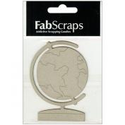 Die-Cut Grey Chipboard Embellishments-Globe 8.9cm x 6.6cm