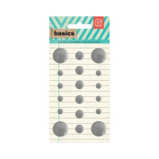 Basics Metal Studs Stickers-Silver Circles