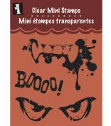 Inkadinkado Clear Mini Stamps, Creepy Face