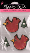 Standouts 3-D Paper Sculpture Stickers hand stitched Cardinals and Trees Theme