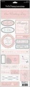 Wedding Foiled Cardstock Stickers 11cm x 30cm -Phrases/Pink & White With Silver