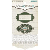 Lost & Found 3 Oliver Adornments 3/Pkg-Metal Label Holder/Metal Word/Lace Trim