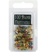 Mini Painted Metal Paper Fasteners 100/Pkg-Round/Matte Heritage