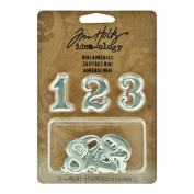 Metal Mini Numerals by Tim Holtz Idea-ology, 11 Numerals, 2.5cm , Polished Silver Finish, TH93013