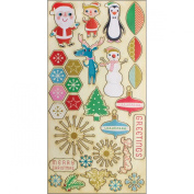Cosmo Cricket COS68131 Jolly Days Ready-Set-Chip Chipboard Stickers, 29 Stickers, Holiday Designs, Multicoloured