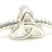 "Jewellery Monster Silver Finish ""Celtic Trinity"" Charm Bead for Snake Chain Charm Bracelet"