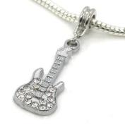 "Jewellery Monster Silver Finish ""White Crystal Rhinestone Guitar"" Charm Bead for Snake Chain Charm Bracelet"