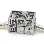 "Jewellery Monster Antique Finish ""Family Blocks w/ Hearts"" Charm Bead for Snake Chain Charm Bracelet"