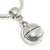 """Jewellery Monster Antique Finish """"Dangling Basketball"""" Charm Bead for Snake Chain Charm Bracelet"""