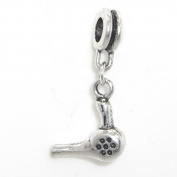 "Jewellery Monster Antique Finish ""Dangling Hairdryer"" Charm Bead for Snake Chain Charm Bracelet"