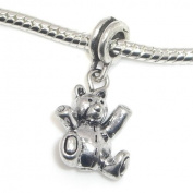 "Jewellery Monster Antique Finish ""Dangling Teddy Bear"" Charm Bead for Snake Chain Charm Bracelet"