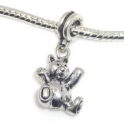 "Jewellery Monster Antique Finish ""Dangling Teddy Bear"" Charm Bead for Snake Chain Charm Bracelet"