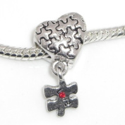 """Jewellery Monster Antique Finish """"Puzzle Heart w/ Dangling Puzzle Piece"""" Charm Bead for Snake Chain Charm Bracelet"""