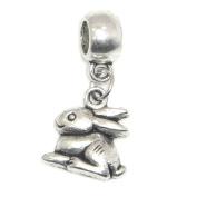 "Jewellery Monster Antique Finish ""Dangling Bunny Rabbit"" Charm Bead for Snake Chain Charm Bracelet"