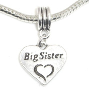 """Jewellery Monster Antique Finish """"Dangling Big Sister Heart w/ Etched Heart"""" Charm Bead for Snake Chain Charm Bracelet"""