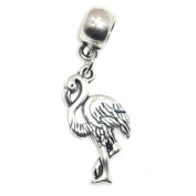 "Jewellery Monster Antique Finish ""Dangling Flamingo"" Charm Bead for Snake Chain Charm Bracelet"