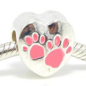 "Jewellery Monster Silver Finish Enamel Painted ""Pink Paw Prints on a Heart"" Charm Bead for Snake Chain Charm Bracelets"