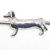 "Jewellery Monster Silver Finish ""Long Dachshund"" Charm Bead for Snake Chain Charm Bracelet"