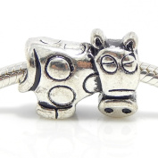 "Jewellery Monster Antique Finish ""Cow"" Charm Bead for Snake Chain Charm Bracelet"