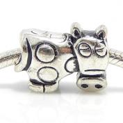 "Jewellery Monster Antique Finish ""Cow"" Charm Bead for Snake Chain Charm Bracelet"