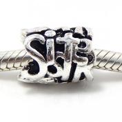 """Jewellery Monster Silver Finish """"Sister"""" Charm Bead for Snake Chain Charm Bracelet"""