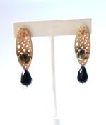 Flower Earring with Czech Tear Drop Glass Bead