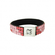 Glittering Bracelet Silver Heart Clasp Pink Beads