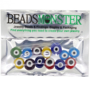 Handmade Lampwork Beads, Evil Eye Style, for Jewellery Making DIY, 12mm Flat Round, Mixed Colour