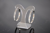 New Steel Fashion Jewellery Brushed Silver Round 4mm Hoop Earrings-30mm