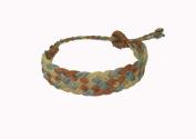 Asian Hippie Wristband Aquamarine - Brown Line Thai Bracelet Vintage Style Fashion