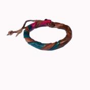 Asian Hippie Wristband Green Brown Reggea Leather Thai Bracelet Vintage Style Fashion