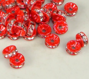 7mm Rhinestone Disc Beads Red 36pcs