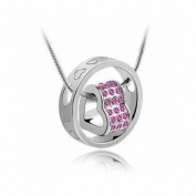 2013 Hot Lady's Heart Crystal Necklace(Pink) Love Forever By U-Beauty