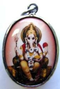 Lord Ganesh Glass Enamel Decal Fired to Copper Medal