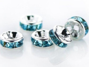 100 Pcs Czech Crystal Rondelle Spacer Bead Silver Plated 8mm Light Blue