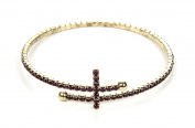 Jadore Bijoux Cross All Around Gem Bracelet - Gold Overlay Dark Purple Gem Cross Studded Bracelet