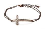 Jadore Bijoux Cross Gem Bracelet - 6.4cm Cross Dark Rose Gold Overlay Chain Bracelet