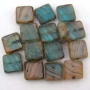 Peach Aqua Square Window Czech Glass Beads 10mm, 15 Pcs