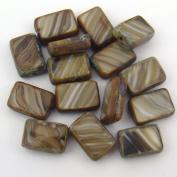 Rectangular Window Czech Striped Topaz Glass Beads 12mm, 15 Pcs
