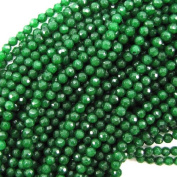 """4mm faceted emerald green jade round beads 15"""" strand"""